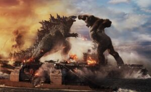 "GODZILLA battles KONG in Warner Bros. Pictures' and Legendary Pictures' action adventure ""GOZILLA VS. KONG,"" a Warner Bros. Pictures and Legendary Pictures release."
